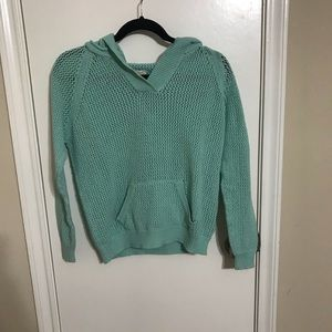 Sweaters - Light turquoise knitted hoodie